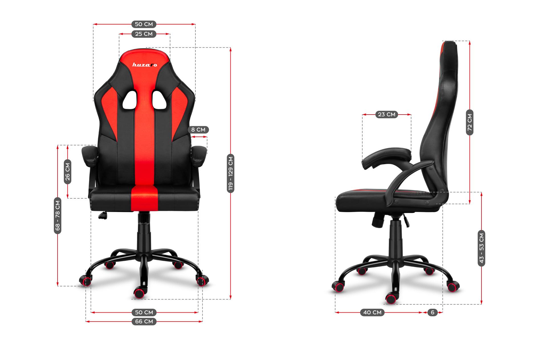 Розміри ігрового крісла Huzaro Force 3.0 Red