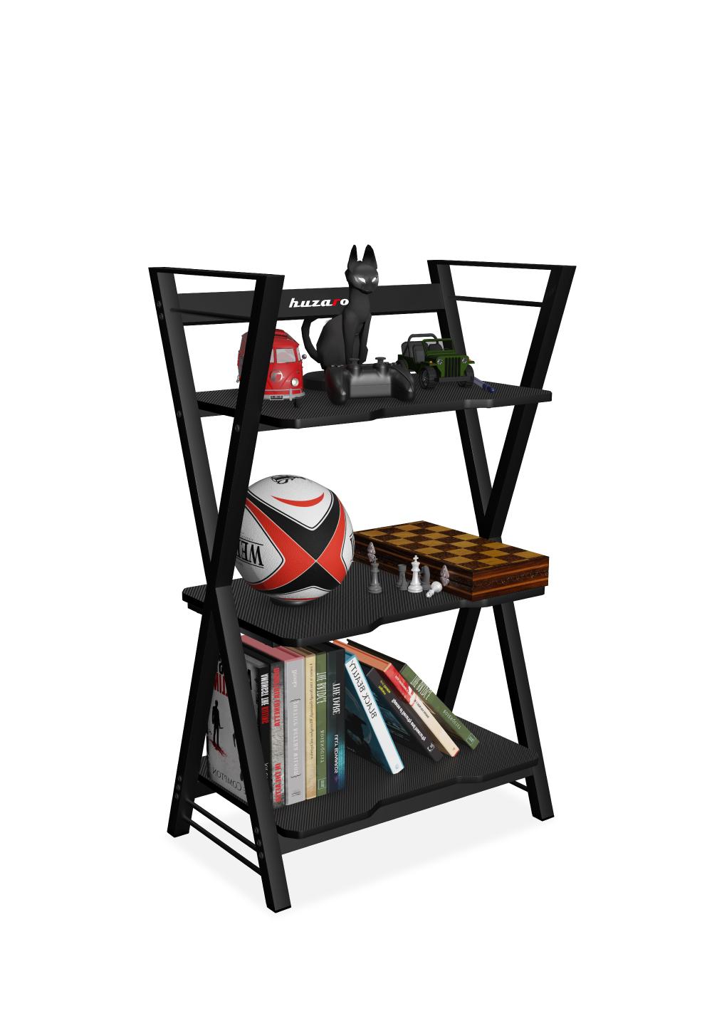 Regał Huzaro Iron 3.0 Black pokazujący możliwości rozmieszczenia akcesoriów gamingowych na półkach
