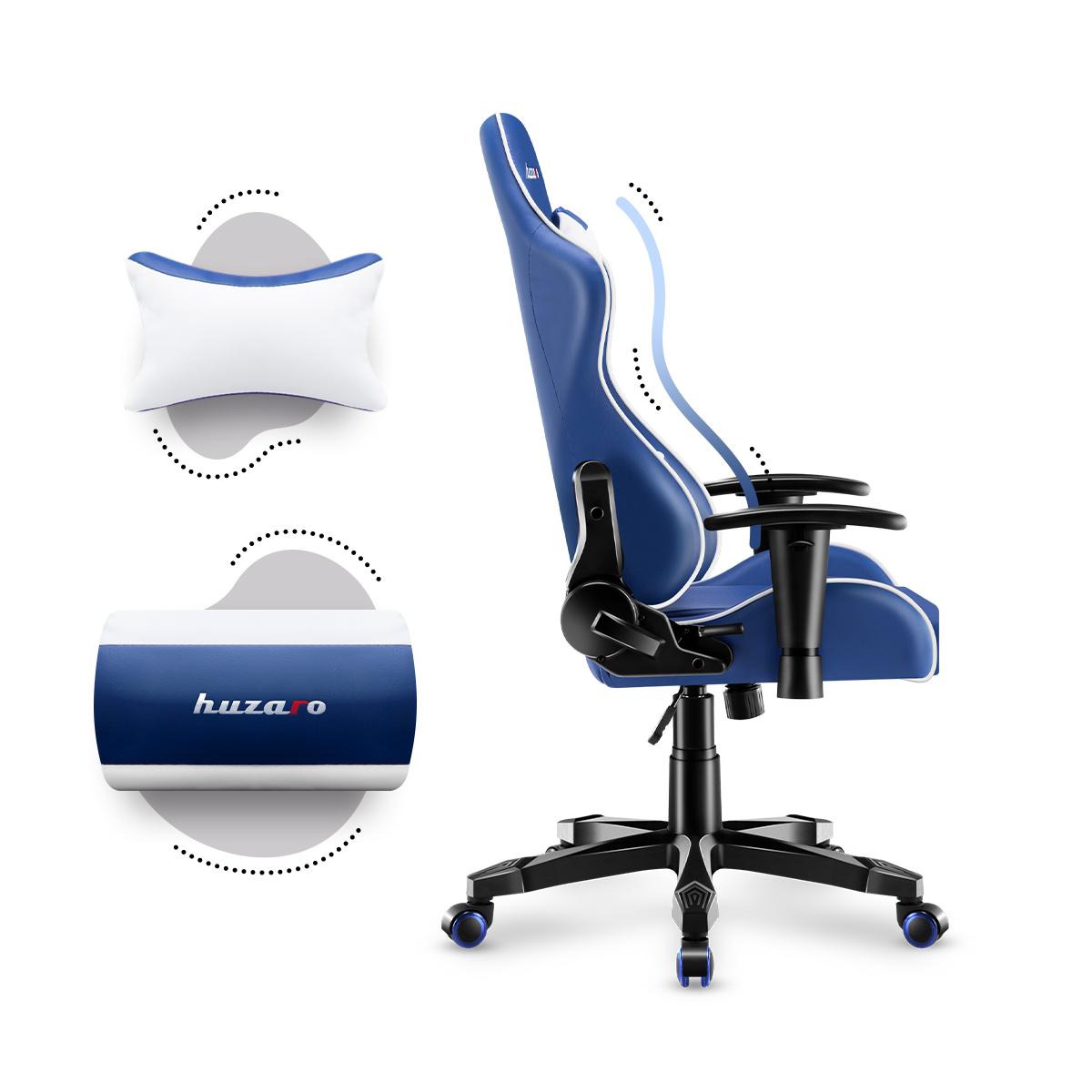 Prawy bok fotela dziecięcego Ranger 6.0 Blue z poduszkami
