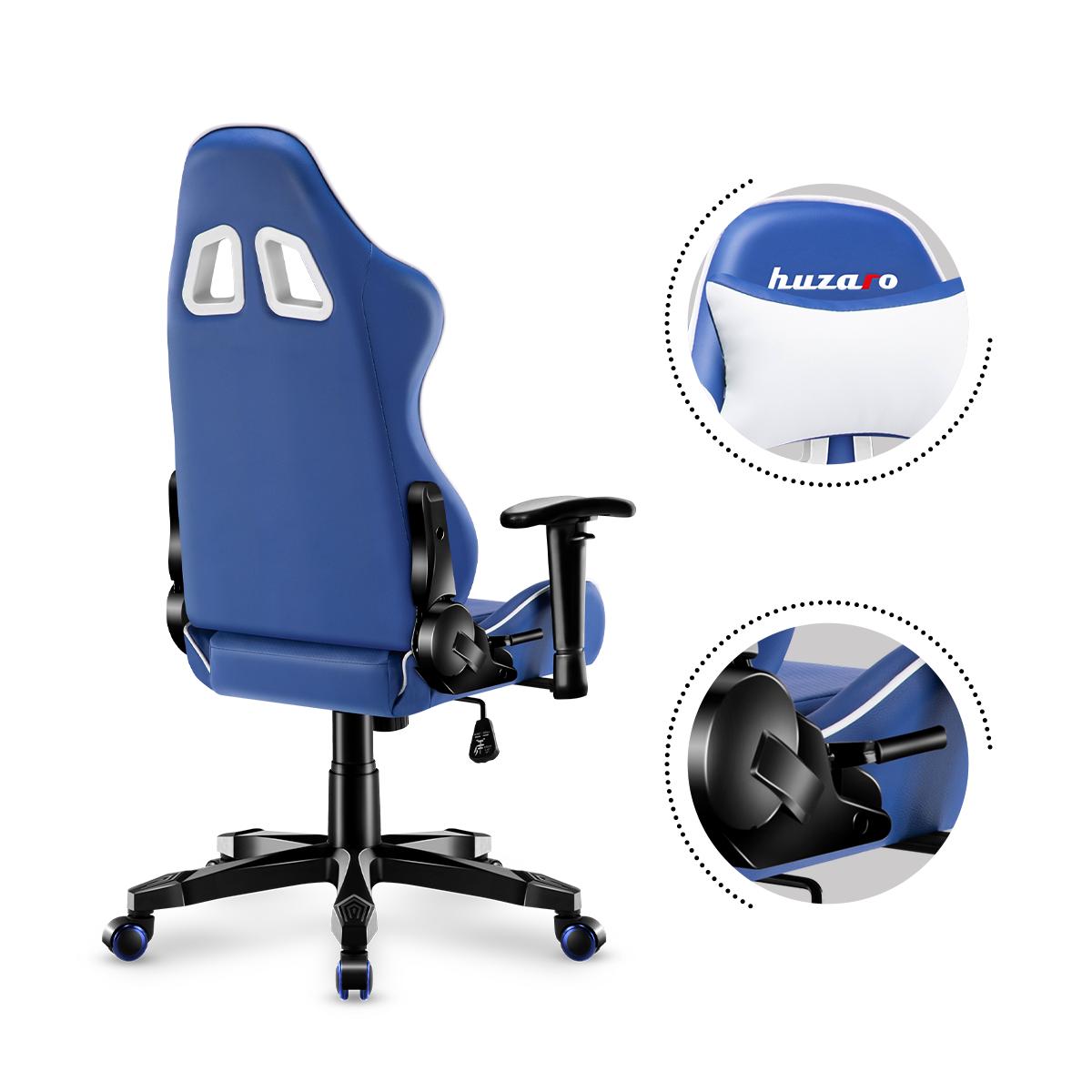 Tył fotela Huzaro Ranger 6.0 Blue z poduszką pod kark i dźwignią ustawiania oparcia